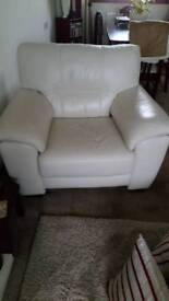 Cream. Leather threeseater sofa +chair
