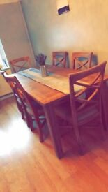 Farmhouse Style 6 Seater table and chairs set with matching dresser chest- Arthur Llewelyn Jenkins