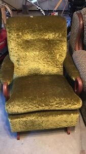 Vintage Green Crushed Velvet Armchair