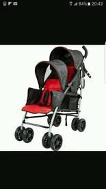 Red black ladybird follow me double buggy stroller tandem