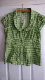 Ladies Next NEW with tags green and white button through blouse. Size 18