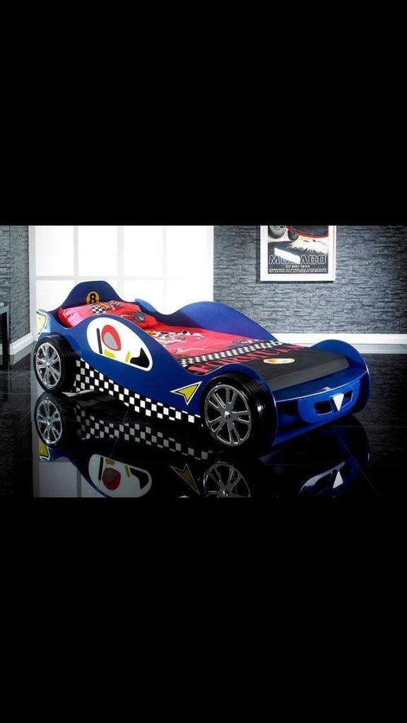 Blue racing car bed £70