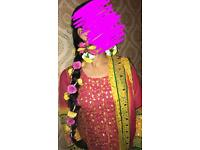 Hot pink yellow Churidar Asian suit