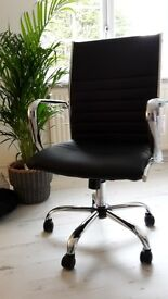 Office chair really smart comfortable stylish black and chrome