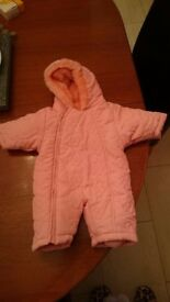 Baby Girl Pink Snow Suit Winter Coat Jacket Newborn Great Condition