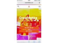 Two Creamfields 4 day standard camping tickets