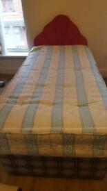 Single storage bed with mattress