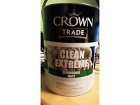 5L Crown Trade Clean Extreme scrubbable matt paints in various colours