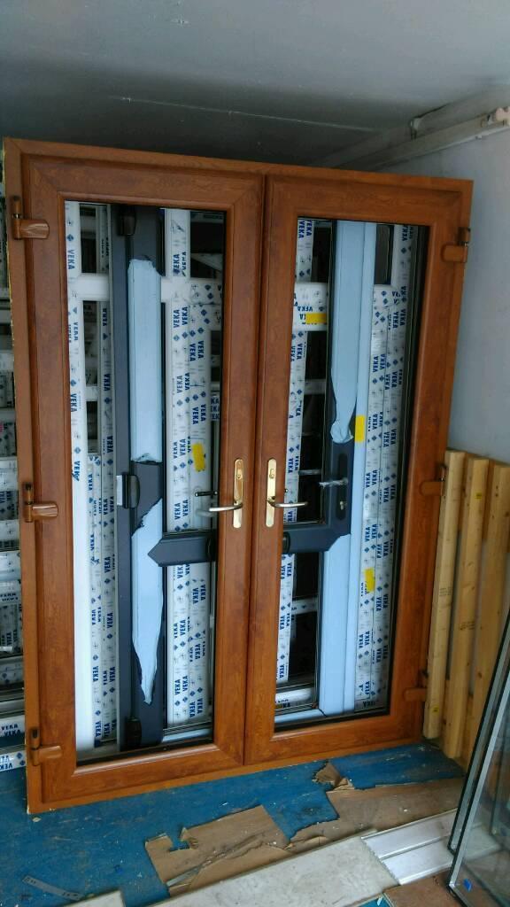 Golden Oak Pvc French Doors In Pontyclun Rhondda Cynon