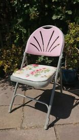 Beautiful folding pink rose chairs - perfect for tea and garden parties. £10 each