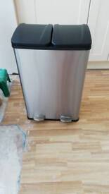 Brand new, Stainless steel, 2 compartment bin