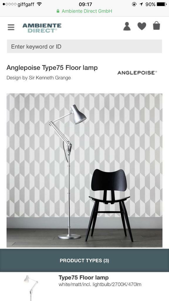 Designer lamp / Anglepoise Type 75 Floor Lamp brushed aluminium