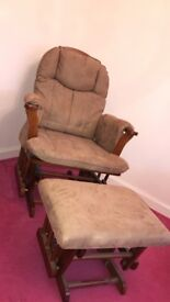 Brown wood - bambino nursing glider/chair with foot stool, hardly used immaculate condition.