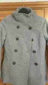 Womens light grey military style coat size 10