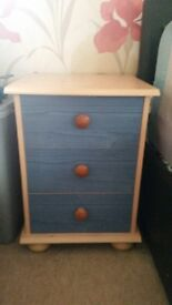 Blue and Pine Bedside tables
