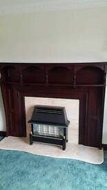 Hardwood fire surround with granite base
