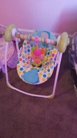 Baby swing and free baby bath