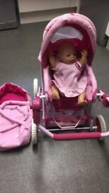 Interactive baby born & pushchair