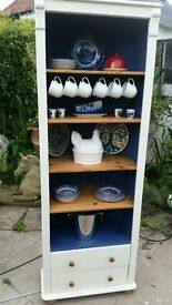 Painted Pine kitchen corner cupboard with 2 drawers under.