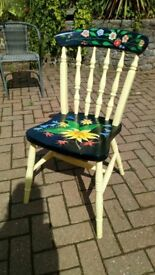 Hand painted yellow,black and floral design chair