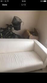 IKEA white leather sofa in good condition