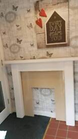 Hand painted white fire surround