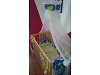 Baby cot canopy, organizer and bumper