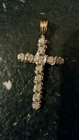 9ct gold diamond cross