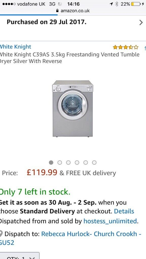 Brand new in box white knight tumble dryer