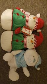 Christmas soft toy's teddy and snowman's....