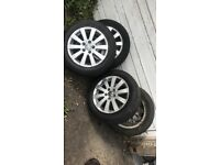 4 passat alloy wheels with good tyres £100