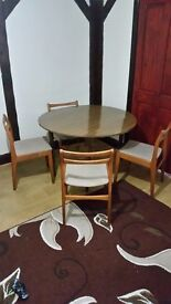Folding dining table with 4 chairs