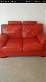 Leather red sofa