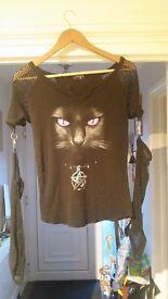 Ladies Spiral Direct cat mesh t shirt (medium)