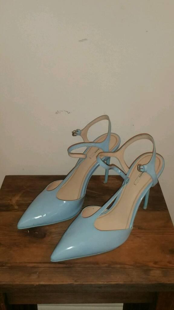 Zara blue mid heel Tbar shoes