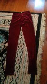 Red velvet leggings size small/medium