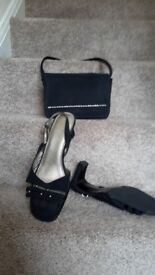 Pair of shoes with diamantees and matching handbag size 8 Worn once to a wedding