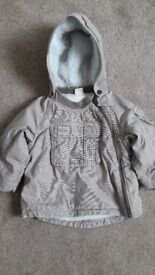 GREY FLEECY LINED COAT (Aged 9-12 months)