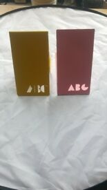 """Pink and yellow modern metallic """"ABC"""" bookends"""