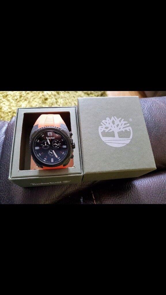 Timberland Bridgton Men's Quartz Watch with Black Dial Analogue Display and Orange Rubber Strap