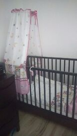 BABY GIRL cot bed matress canopy duvet tommee tippee baby monitor and movement sensor,playmate