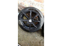"""4x 16"""" Fox Racing Alloy Wheels with Tyres. 4x100, Astra, Civic, Corsa, Yaris, VW"""