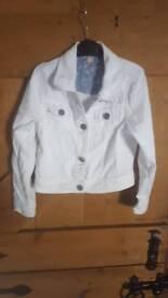Girls white denim jacket aged 7-8