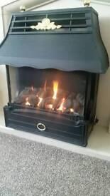 Gas fire emberglow. Cast iron. Living flame effect.