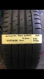 235/40/19 235-40-19 2354019 92W CONTINENTAL SPORT CONTACT3 TYRE