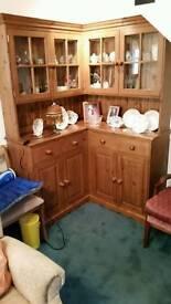 Solid Pine Glazed Corner Cabinet