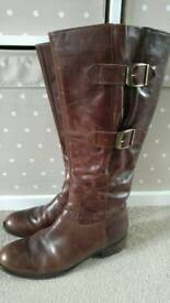 Gabor Brown Leather Boots - Size 4