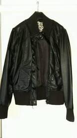 Black leather look jacket size 12