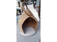 Willow cat basket. Unique hideaway for your feline friend.