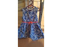 Stunning floral bright blue dress 2-3years